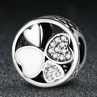 Mother's Day Authentic 925 Sterling Silver Love Heart Charm Bead fit Bracelet