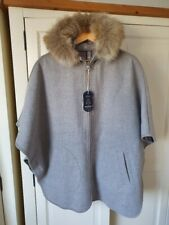 Joules EVERLY REVERSIBLE CAPE in grey check, Medium, RRP £179