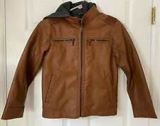Boys Urban Republic FAUX LEATHER jacket With Fleece Hoodie. Size M (10/12)