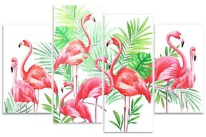 Flamingo Party Canvas Wall Art Print Picture Pink Watercolour Painting Tropical