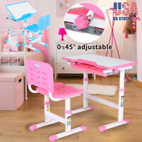 Adjustable Children's Desk Chair Set Child Study Desk Kids Study Table Pink Blue