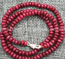 """Fine 2x4mm Faceted Brazil Ruby Handmade Gemstone necklace 18"""" Silver clasps"""