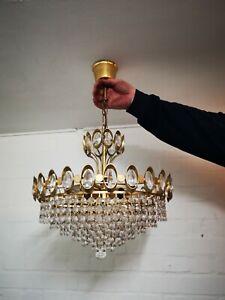 Vintage Stylish Italian Chandelier Cut Crystal Glass 16in Diam
