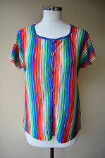 Outlander vintage 70s rainbow hippy cardigan top ~ L