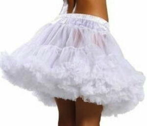 White Petticoat Double Layer Womens Adult Skirt Princess Fancy Dress Party Sexy