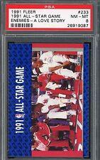 """1991 Fleer All-Star Game #233 Michael Jordan """"Enemies-A Love Story"""" PSA 8"""