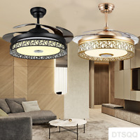 """42""""Invisible Bluetooth Chandelier Fan Remote Control Ceiling LED Lamp Home Light"""