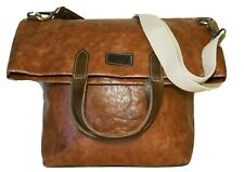 """UASHMAMA Cinnamon-Tan Paper & Brown Leather 13"""" x 11"""" Tote Carry-All Bag ITALY"""