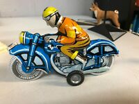 VINTAGE BALLON CORDATIC TIN LITHO FRICTION TOY MOTORCYCLE RIDER Works