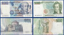 LOTTO 2 BANCONOTE 5000 10000 LIRE ITALIA 1985 1984 BELLINI VOLTA