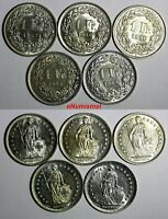 Switzerland Silver LOT OF 5 COINS 1945-1957 1 Franc UNC KM# 24