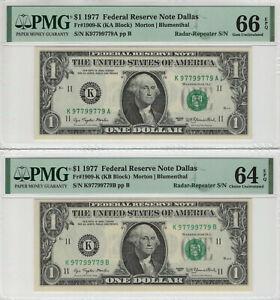 2-1977 $1 FEDERAL RESERVE NOTE DALLAS MATCHING RADAR-REPEATER SERIAL PMG CH/GEM
