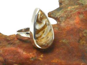 Botswana   AGATE  Sterling  Silver  Gemstone RING  925  -  Size: O -  Hallmarked