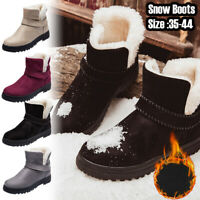Womens Snow Boots Warm Flats Casual Shoes Faux Suede Fur Winter Ankle Shoes New