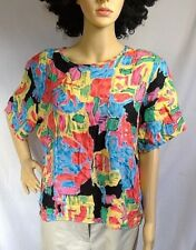 vintage Sag Harbor blouse multicolor rayon short sleeve pull on women size L USA