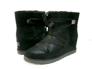 UGG CLASSIC FEMME LACE UP WOMEN ANKLE BOOTS BLACK US 6.5 /UK 4.5 /EU 37.5 /JP235