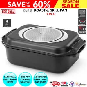 One Pot Roaster Roasting Pan Baking Tray Stew Casserole Oven Stove BBQ Grill 9L