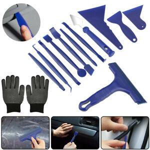 Car Window Film Tint Tools Kit Blue Gloves Vinyl Wrap Squeegee Scraper Universal