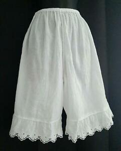 BOHO VICTORIAN Vintage WHITE CRINKLE COTTON EYELET LACE Bloomer Panty Panties