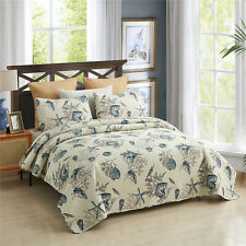 3 Pcs Beach Coral Ocean Sea Shell Quilt Set Bedspreads Coverlets