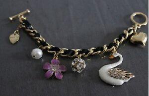 B37 BETSEY JOHNSON Exquisite WHITE SWAN ~Orchid, Bead, Flower Ball ~ Bracelet US