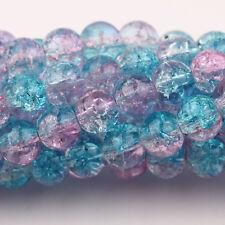 Lots 100X Crystal Glass Round Crack Loose Spacer Bead Half Blue Half Pink 6mm