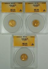 1928 $2.50 Indian Gold Coin ANACS MS-60 Det. Cleaned From Lot *Read Description*