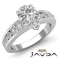 Pear Diamond Splendid Semi Bezel Engagement Ring GIA F SI1 14k White Gold 1.7 ct