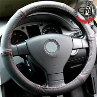 VAUXHALL CORSA ASTRA VECTRA VIVARO 100% LEATHER RED STITCH STEERING WHEEL COVER