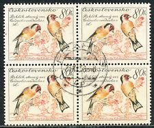 TSCHECHOSLOWAKEI 1959 Vögel 80H Stieglitz (Carduelis carduelis Viererblock ABART