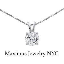 Round Brilliant Natural Diamond Pendant With Box Chain 14K White Gold 0.31TCW