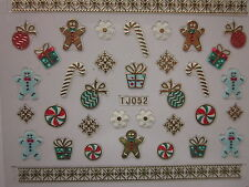 Christmas 3D Nail Art Stickers Decals Gold Snowflakes Gingerbread Man (TJ52G)