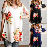 Womens Cold Shoulder Short Sleeve Floral Print T Shirt Tops Summer Beach Blouse