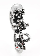 NEW Skull and Snake Double Finger Aged Silver & Crystal Punk Costume Ring O/P