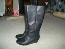 CLARKES LADIES WEDGE BLACK KNEE BOOTS SIZE 5.5 D