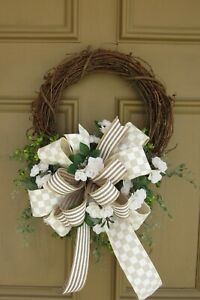 Everyday Wreath, White Roses, Farmhouse Wreath, Small Wreath, Small Wreath