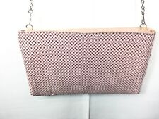 Pink Metal  Mesh Silver Tone Metal Chain Shoulder Crossbody Bag Purse