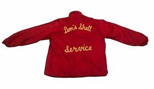 Vintage Mens Red Windbreaker Coat Jacket DON'S SHELL SERVICE Needs Repair As Is