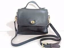 COACH Vintage COURT BAG 9870 Black Leather Handbag Shoulder Purse Tote CrossBody
