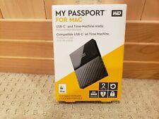 WD My Passport for Mac 2TB Portable Hard Drive USB C (WDBLPG0020BBK-WESE