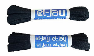 "EL-JAY Two Pairs 100cm 39"" Nylon Woven Black Football Rugby Sport Shoe Laces"