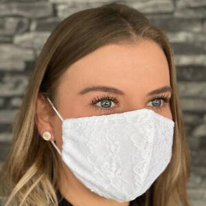 Stoffmaske mit Spitze Alltagsmaske Hochzeit Mund Nase Behelfsmaske Baumwo
