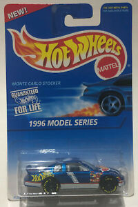 HOT WHEELS MONTE CARLO STOCKER METALLIC BLUE w/ 7 Spoke Black Rims New 1995