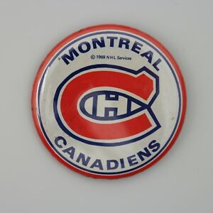 """Vintage Rare 1969 NHL Montreal Canadiens Pin Button 2 1/4"""" by 2 1/4"""" Round"""