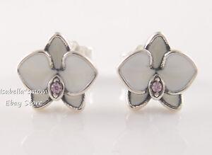WHITE ORCHID Genuine PANDORA Enamel FLOWER Stud EARRINGS 290749EN12 w PACKAGING