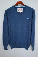 xem857 Herren Vintage SuperDry blau V Ausschnitt Baumwolle Kaschmir Pulli Größe