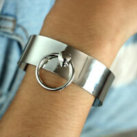 Bracelet Round Opening Girl Steel Silver Cuff Stainless Bangle Wide Women Shaped