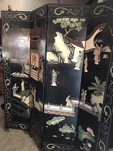 Vintage Chinese Asian Wood 4-Panel Screen Room Divider
