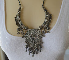 Urban Outfitters Leather chain Long Bib Statement Necklace with metal beads -NEW