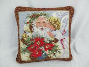"""VTG Needlepoint Pillow Santa Poinsettias Angel Red Velvet Zipper Back 13"""" x 13"""""""